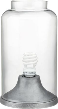 Sculptural glass dome shelters single utility bulb in modern nod to the vintage jar lamp. Compact brushed aluminum base perches as illuminating object on nightstand, side table, book shelf. Lamp Bulb, Jar Lamp, Vintage Jars, Incandescent Bulbs, Edison Bulbs, Glass Domes, Glass Shades, Lamp Light, Light Fixtures