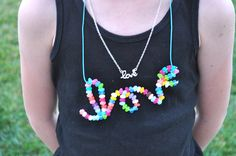 Melted perler bead LOVE necklace by Club Chica Circle