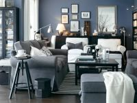 Living Room setup/couch color with splashes of burnt orange...perfect!