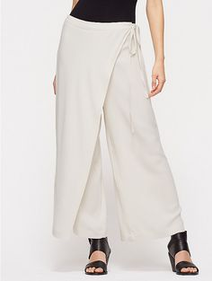 Wide-Leg Cropped Wrap Pant with Tie in Silk Georgette Crepe