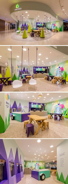 A playful theme of abstract trees and mountains were designed for this frozen yogurt shop Kindergarten Interior, Kindergarten Design, Daycare Design, School Design, Kids Cafe, Frozen Yogurt Shop, Healthcare Design, Learning Spaces, Kids Store