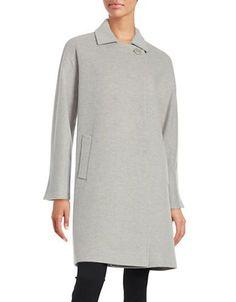 Cinzia Due Asymmetrical Button-Front Coat Women s Light Grey 4 Mäntel Für  Frauen, Grau 0f6ad7a0f3