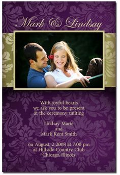 Create A Beautiful Purple Floral Wedding Invitation Now. Youu0027ll Love This  Ornate Purple And Gold Themed Design!