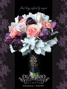 Stunning bridal bouquet in rich vintage tones of purple and pink wrapped in a luxuriant satin ribbon and boldly embellished with a vintage silver and pearl brooch