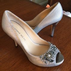 Antonio Melani Gabriela Dark silver/ pewter platform pumps with peep-toe. Worn once (for 4 hours) to a wedding. Great condition! Heel height: 4 inches, platform 3/4 inch. ANTONIO MELANI Shoes Heels