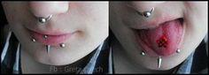 Septum , vertical labret , snake bites and tongue piercing .