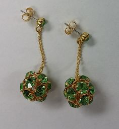 Vintage Swarovski crystal ball bead earrings, 14mm antique vintage Peridot set rhinestones in 24k gold plated setting- RARE (2 pces)
