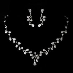 Stress Away Bridal Jewelry Boutique –Antique Silver Rhodium Clear CZ Crystal Wedding Jewelry Set