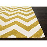 2' x 3' Creamy White and Sunburst Yellow Hand Tufted Modern Paris Traverse Area Throw Rug
