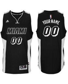 Miami HEAT adidas 2014-15 New Custom Swingman Jersey Black Tie Adidas  Shoes 8bbf089ef
