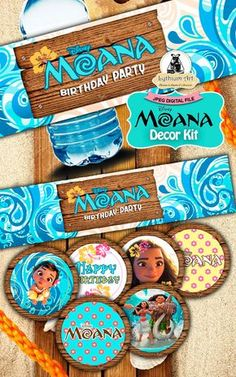 Moana Decor Kit - Moana Labels - Moana Toppers - Moana Food Tents - Moana Birthday Party - Moana Printables - Moana Decor - Disney de LythiumArt en Etsy