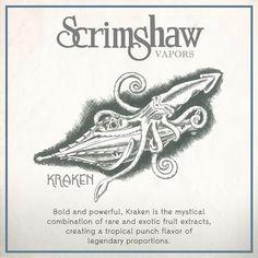 2vaped - Kraken e-Liquid (Scrimshaw), $19.99 - Hunt the Kraken and reward yourself with the best tropic fruit punch around! This High VG blend will give you big clouds full of flavor! - (http://www.2vaped.com/kraken-e-liquid-scrimshaw/)