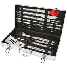 """Create culinary masterpieces with the Chefs Basics® Select 18-Piece Stainless Steel BBQ Set. The set includes a silicope basting brush, an 8"""" all purpose blade, a heavy-duty BBQ fork and a 4-piece steak knives set."""