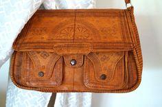 Shoulder BagVintage Embossed Genuine Leather by vintagdesign