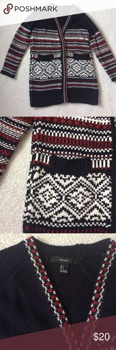 Forever 21 Oversized Cardigan Sweater Great condition, oversized sweater. Mild piling (see last picture) great overall condition. Worn 1-2 times only. Hidden snaps in front, can be worn opened or buttoned. Has pockets. Very thick and soft Forever 21 Sweaters Cardigans