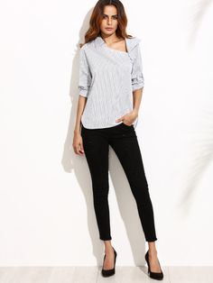 Shop White Striped Asymmetric Buttoned Neck Blouse online. SheIn offers White Striped Asymmetric Buttoned Neck Blouse & more to fit your fashionable needs.
