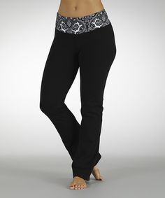 Take a look at this Black & White Dream On Flat-Waist Yoga Pants on zulily today!
