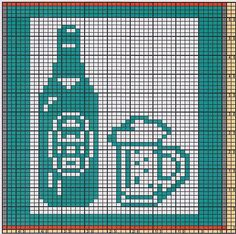 Here I offer only the chart pattern for a potholder. I am assuming that you are familiar with the double-faced knitting technique too. Filet Crochet Charts, Crochet Motifs, Knitting Charts, Crochet Patterns, Old Wine Bottles, Recycled Wine Bottles, Wine Bottle Crafts, Knitted Washcloths, Knit Dishcloth