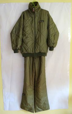 ELLESSE PENGUIN Vintage Ski Suit size MEDIUM Adult LADIES skisuit OLIVE V RARE in Sporting Goods, Skiing & Snowboarding, Clothing, Hats & Gloves | eBay
