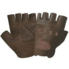 Top Quality Finger less Gloves Real Leather Soft Weight Training Cycling Bike Wheelchair Body building weight lifting GYM BROWN LARGE 502