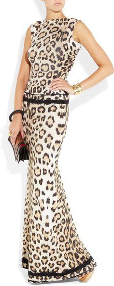Roberto Cavalli Cutout Leopardprint Stretchjersey Gown in Animal (leopard) | Lyst