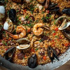 Make this Spanish paella that's packed with flavors from tender chicken, mussels, clams, and chorizo.
