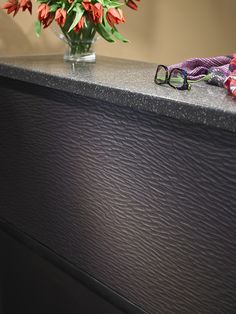 Formica® DecoMetal® M6485 Umbra Craft and Formica® Solid Surfacing 651 Chicory Mosaic