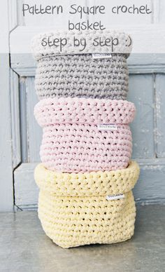 Zpagetti Crochet pattern Square Baset For this pattern You Need: ball of Yarn, (I use Ribbon XL, You can buy it here) or in My Etsy Shop. It is perfect for these baskets! But You can also use Zpagetti Yarn which You can buy in My Et. Crochet Storage, Crochet Diy, Crochet Gratis, Crochet Home, Crochet Ideas, Crochet Basket Pattern, Crochet Patterns, Crochet Baskets, Knit Basket