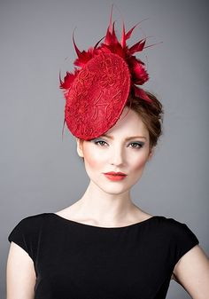 Rachel Trevor Morgan AW 2014 R14W7 - Red lace disc with spike feather flowers and red crystals