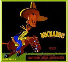 Redlands-Buckaroo-Cowboy-Orange-Crate-Label-Art-Print