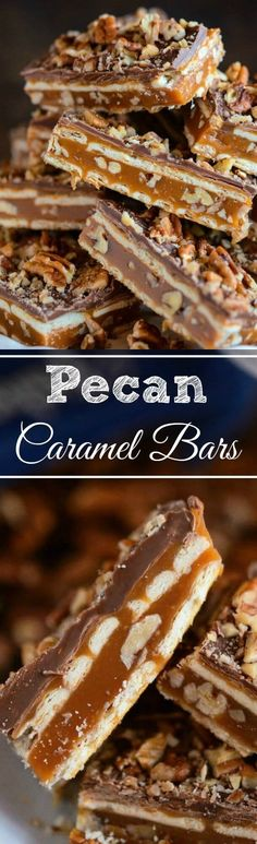 Pecan Caramel Crisp Bars - only 5 ingredients to make these gorgeous homemade candy bars! Pecan Recipes, Candy Recipes, Baking Recipes, Sweet Recipes, Cookie Recipes, Dessert Recipes, Bar Recipes, Recipies, Detox Recipes