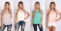 lace short sleeve blouse xs-3XL $19.99