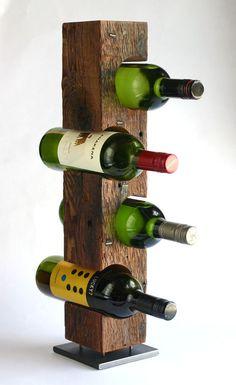 Handmade modern wine rack from reclaimed c.1860, North Ferrisburgh, Vermont barn wood, with steel base. KettlerWoodworks.com