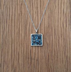 upcycled circuit board necklace sterling silver chain by sparkover
