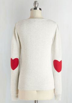 We're Young at Heart Sweater - Grey, Red, Knitted, Casual, Long Sleeve, Cotton, Mid-length, Winter, Travel, Folk Art, Grey, Long Sleeve, Valentine's, Best Seller, Knit, Good, 4th of July Sale, Top Rated