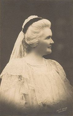 Romanian Queen Elisabeth in white mourning for her husband, King Carol I.