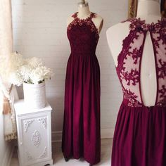 2017 new long Sexy lace halter Prom Dress a-line Prom Dress , sexy back style Prom Dress