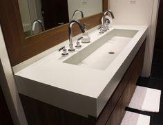 "This is a custom 48"" concrete bathroom vanity sink for a contemporary bathroom by Trueform Concrete #TrueformConcrete #OurSinks"