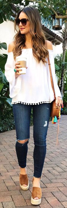 White Off Shoulder Blouse / Ripped & Destroyed Skinny Jeans / Brown Platform Wedge / Brown Leather Shoulder Bag