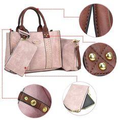 Women Handbag 3 Pieces Set Faux Leather Shoulder Bag Satchel Purse 3 in 1 Plaid Design 2 Pieces 2pcs