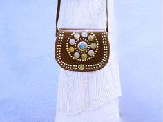 Boho Bag, Gypsy Bag, Brown Leather Bag, Tribal Crossbody Bag, Vintage Coin, Bohemian, BOHO CHIC, Ethnic Coin Bag, Boho Stone Bag, Boho Luxe