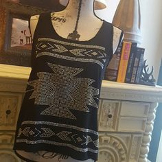 STUDDED AZTEC TANK Nwot Incrediable studded Aztec top. Never been worn.  Super cute for that perfect concert night. USE THE OFFER BUTTON!! Tops Tank Tops