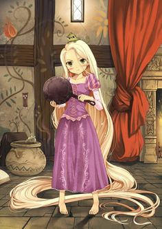 Chibi Rapunzel with a Frying Pan Anime Girl Cutie These Disney anime wallpapers are from the Little Mermaid, Rapunzel and Little Red Ridding Hood. - photo at Anime kida Disney Rapunzel, Disney Chibi, Rapunzel Flynn, Disney And Dreamworks, Anime Kawaii, Disney Fan Art, I Love Anime, Awesome Anime, Disney Animation
