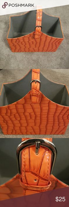 Folding bag Hard cover croc folding large bag orange and  gray. buckle on one side. no name Bags