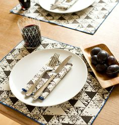 New Hand Printed Place Mats Winter Triangles Walnut by annajoyce, $66.00