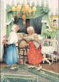 Groothandel Postkaarten van Inge Look number 42 Old Lady Humor, Art Fantaisiste, Norman Rockwell, Pics Art, Whimsical Art, Old Women, Getting Old, Finland, Illustrators
