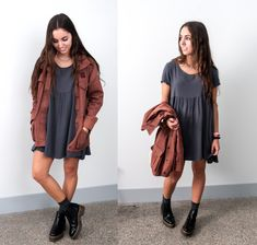 Cargo Jacket, American Apparel Babydoll Dress, Topshop Booties