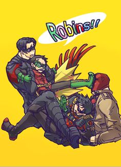 dick grayson jason todd Damian Wayne tim drake Robins (birds of a feather)