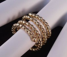 WOMENS ITALY 24k GOLD over 925 STERLING SILVER DIAMOND CUT BEAD RING NEW ARRIVAL #AuthenticItalianCraftsmanship #Wrap