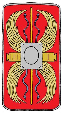 Roman Legionary Shield Legion 1 Adiutrix by on DeviantArt Roman Shield, Roman Armor, Ancient Rome, Ancient History, Roman Gladiators, Roman Legion, Greek Warrior, Roman Republic, Greek Culture
